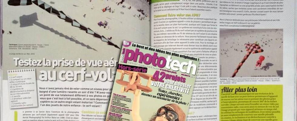 Phototech, hors série n°7 – août 2013 (photos + rédactionnel) également un rédactionnel sur la photo par cerf-volant (KAP)
