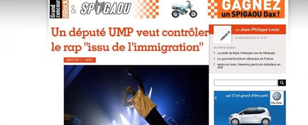 Publication sur «Les inrocks» version internet http://www.lesinrocks.com/actualite/actu-article/t/68491/date/2011-07-28/article/le-depute-qui-voulait-controler-le-rap-issus-de-limmigration/