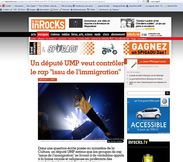 """Les inrocks"" version web"
