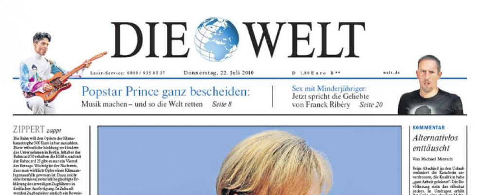 Prince, photographié à la citadelle d'Arras en juillet 2010 sur la Une du journal Allemand «Die Welt»