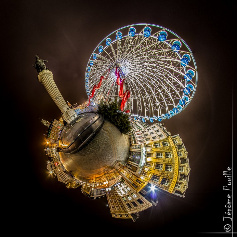 Petite planète des Illuminations de la grande roue de Lille, janvier 2013