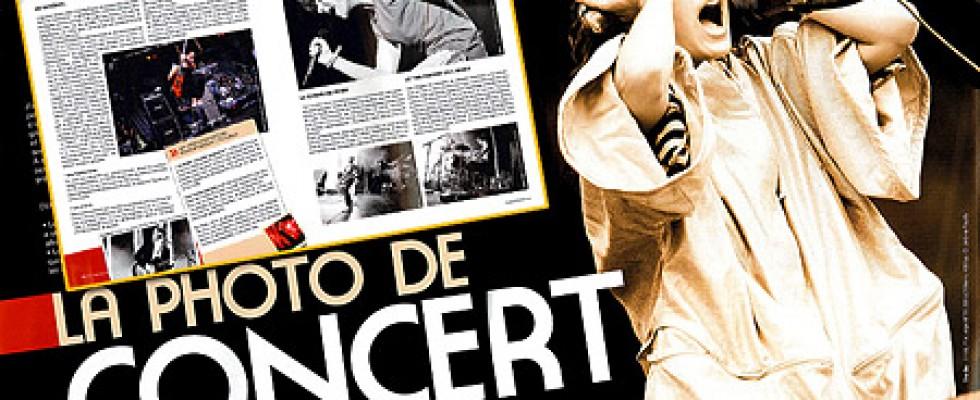 3 photos illustrant un dossier sur la photo de concert dans la revue Photocoach n°4 – juin-juillet 2009