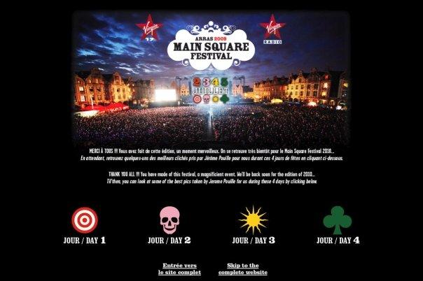 Page d'accueil du site internet du Main Square festival 2010