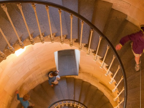 L'escalier du phare des Baleines au coucher de soleil