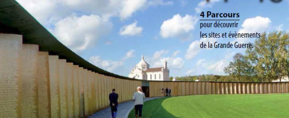 Brochure «les chemins de mémoire 14-18» Photo de couverture + 1/2 page intérieure de l'anneau de la mémoire.