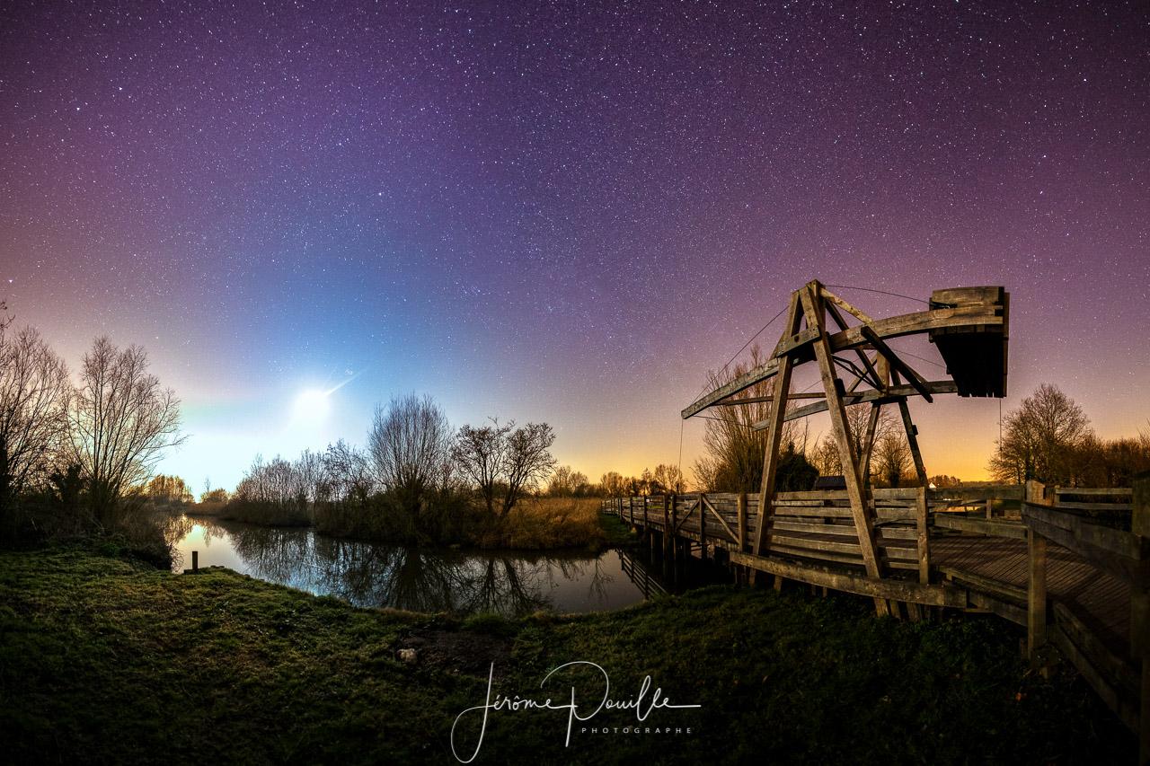 Panoramique nocturne de 8 photos. Réserve naturelle du Romelaere, dimanche 13 mars 2016