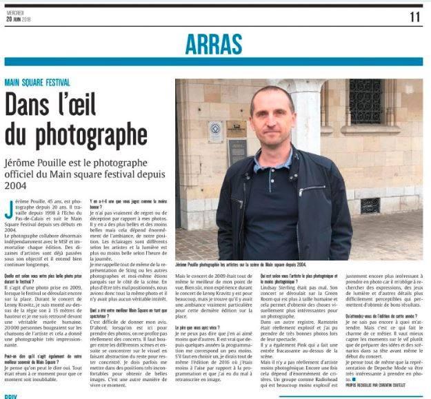 L'Avenir de l'Artois, édition Arras-Bapaume 20 juin 2018