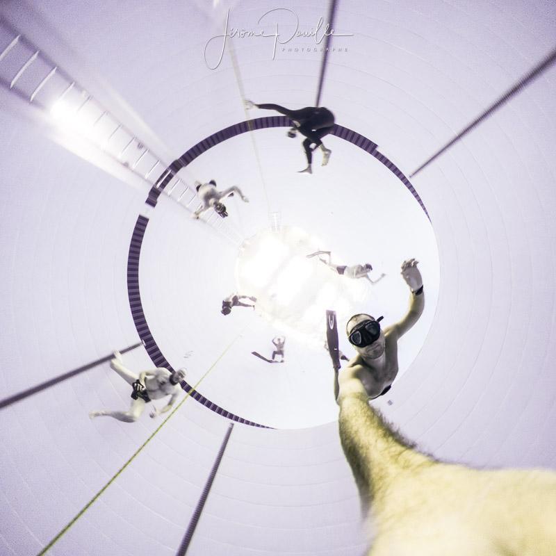 projection stéréographique d'une image 360° faite à -10m dans la fosse de plongée de Dunkerque